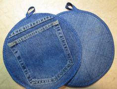 Jumbo Recyled Denim Pocket Pot Holder Xtra Large by GetPersonalEtc, $7.99