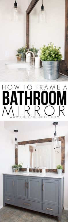 DIY Bathroom Decor Ideas - Wood Framed Bathroom Mirror Tutorial - Cool Do It Yourself Bath Ideas on A Budget, Rustic Bathroom Fixtures, Creative Wall Art, Rugs, Mason Jar Accessories and Easy Projects - Home Decor Styles Wood Framed Bathroom Mirrors, Farmhouse Bathroom Mirrors, Diy Bathroom Decor, Bathroom Styling, Bathroom Fixtures, Bathroom Ideas, Master Bathroom, Small Bathroom, Bathroom Colors