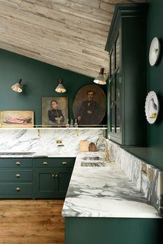 Kitchen Cabinet Decor Home Deep Dark Green Cabinets And Walls Original Wooden Floorboards People Also Love These Ideas