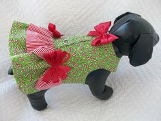Christmas Dog Dress Candy Cane Double Ruffle with Satin Bows Dog  Harness Dress Custom Made. $22.95, via Etsy. For Reese and Lois?