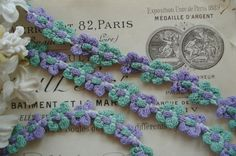 1y Vintage French Cotton Purple & Green by VintageFrenchRibbons