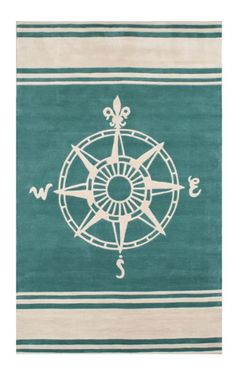 Classic Compass Rug in Teal by Nejad Rugs - RosenberryRooms.com