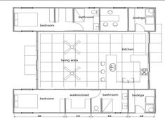 Container home Floor plan. I like the bedroom with walk-in closet and master bath