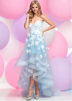 Buy discount Elegant Tulle Sweetheart Neckline A-Line Hi-Lo Prom Dresses With Handmade Flowers at Dressilyme.com