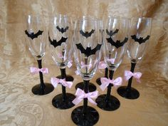 Bats N Bows Wine Glasses Halloween wedding - Wouldn't use girly bows, but like the bats! :)