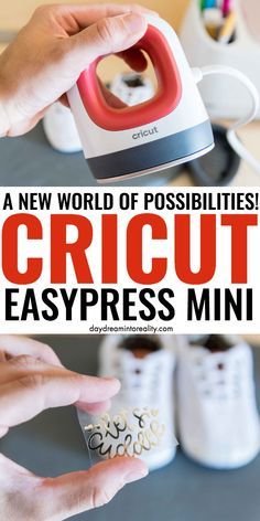 The Easypress Mini is a teeny tiny device that allows you to transfer small projects made with Iron-On vinyl (HTV). It's especially helpful if you need to transfer your cuts to small surfaces like baby shoes, hats, pockets, etc. Diy Crafts To Sell, Diy Crafts For Kids, Cricut Baby Shower, Disney Kitchen Decor, Mini Iron, Cricut Tutorials, Cricut Ideas, Iron On Vinyl, Silhouette Cameo Projects