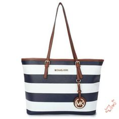 StylishMichael Kors Jet Set Striped Travel Large Black White Totes Will Suit Your Style, Come To Purchase Now!