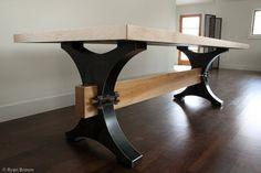 Blacked Steel Table base by Steel House MFG, Formerly Austin Outdoor Studio Steel Furniture, Custom Furniture, Furniture Decor, Furniture Design, Furniture Vintage, Cheap Furniture, Discount Furniture, Steel Table, Wood Table