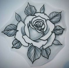 how to draw traditional rose tattoo flash anexa tutorial - traditional rose drawing Tattoo Sketches, Tattoo Drawings, Body Art Tattoos, New Tattoos, Cool Tattoos, Tattoos Skull, Rose Drawing Tattoo, Flower Drawings, Tattoo Art