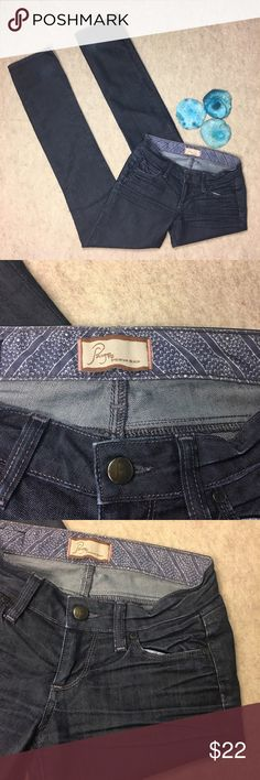 """Paige Blue Heights Low Rise Skinny Leg Jeans Paige Blue Heights Low Rise Skinny Leg Dark Wash Jeans. Size 24  Gently used, no flaws  Approximate measurements;  Waist---13""""  Rise--7""""  Inseam--34"""" Paige Jeans Jeans Skinny"""