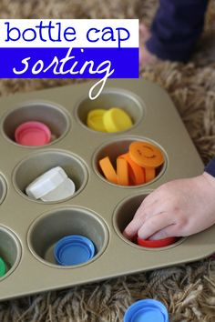 Recycle those bottle caps and turn them into a sorting activity! Great for cognitive development and color recognition and sorting (could be used with colors or letters) Elderly Activities, Sorting Activities, Montessori Activities, Learning Activities, Toddler Activities, Preschool Activities, Montessori Materials, Toddler Play, Early Learning