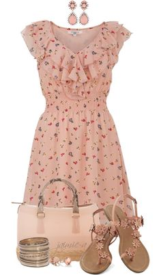 """Floral Ruffled Dress"" by jaimie-a ❤ liked on Polyvore...would be better with cowboy boots :)"