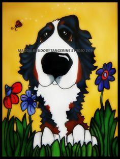 MAGGIE BRUDOS  bernese mountain Dog lady bugs by tangerinestudio, $58.00