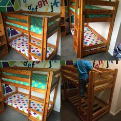 Mini bunkbed, cotbed bunkbed. Made for toddler room by my lovely uncle out of a cabin bed. Cabin bed to bunkbed. My 4 year old just turned and my 18 month old will be sharing soon so we looked for a cot size bunk bed with no luck, so I decided we could make out own!! I bought a second hand cabin bed, a few wooden pegs and 2 extra planks of wood for spare slats and back rail. My lovely uncle was hard at it most of the day love him but we're very happy with result. He did great!!