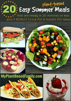 20 Easy Summer Meals that are ready in 20 Minutes or Less! Everything is plant-based (vegan) and has gluten-free options! Vegan Recipes Videos, Vegan Recipes Easy, Easy Dinner Recipes, Whole Food Recipes, Vegetarian Recipes, Easy Summer Meals, Quick Easy Meals, Summer Recipes, Summer Food