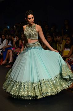 Karisma Kapoor Net Resham & Zari Work Blue Semi Stitched Bollywood Style Lehenga - at Rs 4194 Designer Bridal Lehenga, Bridal Lehenga Choli, Indian Lehenga, Sabyasachi Lehengas, Blue Lehenga, Lehenga Designs, Saree Blouse Designs, Indian Dresses, Indian Outfits