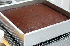 Chocolate Butter Cake {wedding cake} by SK: //   3 cups cake flour //   3 cups sugar //   1 1/2 cups unsweetened cocoa powder (not Dutch process) //   3 teaspoons baking soda //   3/4 teaspoon ground cinnamon //   3/4 teaspoon salt //   3 sticks (12 ounces) unsalted butter, at room temperature //   1 1/2 cups buttermilk //   3 eggs //   1 1/2 cups freshly brewed coffee, cooled to room temperature //