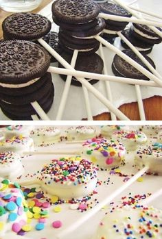 Love this! Simply skewer an Oreo, cover it in melted chocolate and dip it in sprinkles - great for birthday parties