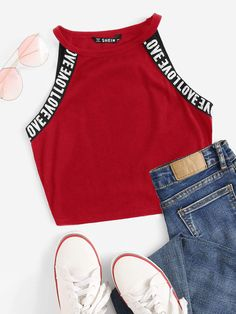 To find out about the Letter Tape Rib-knit Halter Top at SHEIN, part of our latest Tank Tops & Camis ready to shop online today! Strappy Crop Top, Cami Crop Top, Cami Tops, Halter Tops, Teen Fashion Outfits, Fashion Black, Steampunk Fashion, Gothic Fashion, Fashion Fashion