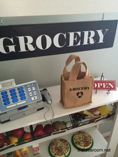 Make a simple but fun Grocery Stand for the kids or your classroom | theidearoom.net
