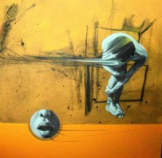 Realistic yet abstract paintings by Eduardo Mata Icaza Eduardo Mata Icaza mixes realistic, anatomical images of the human body with abstract shapes lines, and movement. Combined with either bleak or highly contrasting color schemes his paintings are quite Portrait Images, Portraits, Abstract Shapes, Abstract Art, Abstract Paintings, Surreal Artwork, Kunst Online, Art Addiction, Painting Still Life