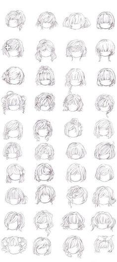 """绘画 手绘 教程 动漫 """"Qianxi丶【各种头发的画法】"""