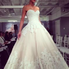 Love the delicate lace detailing on this ballgown by Mori Lee