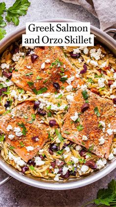 Salmon Recipes, Seafood Recipes, Easy Dinner Recipes, Appetizer Recipes, Orzo, Mediterranean Recipes, Greek Recipes, Fish And Seafood, Pasta Dishes