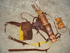 Multifunctional Tooled Leather Quiver For Bow, Knife and Rope, with Detachable Pouch, Backpack and an Arm Guard