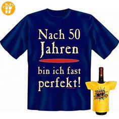 Geburtstags Set T-Shirt + Mini für die Flasche <-> 50 fast perfekt <-> ein kleines lustiges Geschenk Goodman Design®Navy-Blau (*Partner-Link)