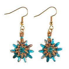 Flower Earrings, Turquoise and Gold Earrings, Fun Summer Earrings, Beadwork Jewellery,  Seed Bead earrings, Czech glass Jewellery, Gift Idea by Turquoisebee on Etsy https://www.etsy.com/uk/listing/239408892/flower-earrings-turquoise-and-gold