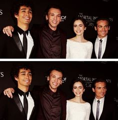 Robert Sheehan, Jamie Campbell Bower, Lily Collins & Kevin Zegers on the carpet at the Toronto TMI premiere.