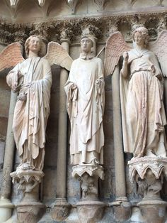 These are angels carved on the outside of the cathedral in Reims. The smiling angel is incredibly famous and is seen in pictures all over.
