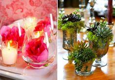 Az asztal közepére tökéletes, ha néhány kis üvegpohárba élő vagy vágott virágokat helyezel.