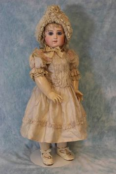 "23-3/4"" Antique 9 over EJ Bebe Jumeau w.Blue Paperweights French Bisque doll"