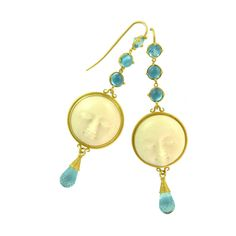 Itali Lambertini- carved moon, 18k gold and blue topaz. So delicate. #etsy #jewelry