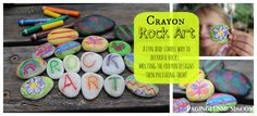 Decorated Rocks – using Crayons!  :http://pagingfunmums.com/2013/09/26/decorated-rocks-using-crayons/