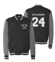 Supersoft sweatshirt jacket, perfect for any fan. Beacon Hills Lacrosse on the front and Stilinski 24 on the back. -9.0 oz., 80/20 cotton/polyester -Snap front closure -Contrast sleeves and double welt side pockets -Striped knit collar, cuffs, and waistbands Available in Unisex/Mens