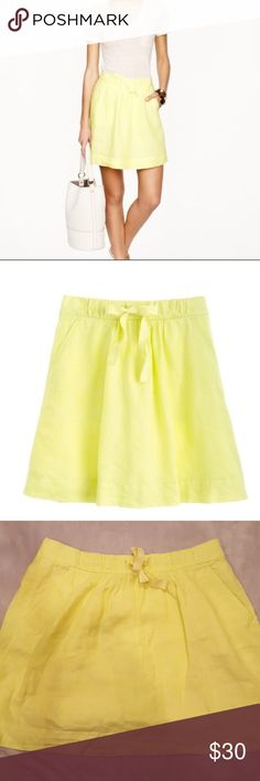 J. Crew Boardwalk Neon Yellow Linen Skirt Perfect skirt for Summer!! See pic for details. No holes or stains. Pockets on the side, a-line, elastic waist. J. Crew Skirts Midi