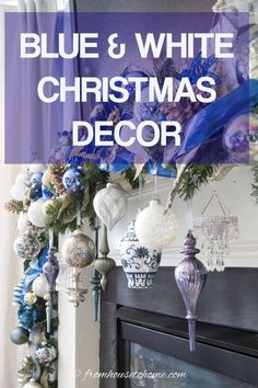 I love this blue and white Christmas home tour. All kinds of Christmas decorating ideas for the tree, living room, table and fireplace mantle. #fromhousetohome #christmas #christmasdecor #blueandwhite #christmasdecoratingideas #bluechristmasdecor Blue Christmas Decor, Christmas Decorations For The Home, White Christmas, Christmas Home, Christmas Villages, Victorian Christmas, Vintage Christmas, Christmas Ideas, Christmas Ornaments