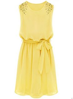 Yellow Sleeveless Bead Belt Chiffon Sundress - Sheinside.com