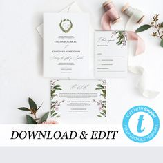 Monogram Wedding Invitation Template Greenery Printable Wedding Invitation DIY Templett PDF Instant Download Editable Rustic Wedding by PearlyPaperDesign on Etsy https://www.etsy.com/se-en/listing/596502946/monogram-wedding-invitation-template