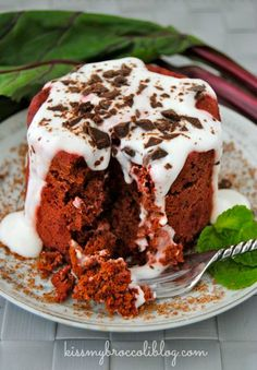Red Velvet Mugcake topped with Cream Cheese Greek Yogurt Sauce just in time for Valentines Day! Get the recipe from @KissMyBroccoli at www.k...