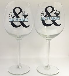 Listing is for TWO Personalized Mr & Mrs Wine Glasses Current production time is 5 to 7 Business days, plus shipping  Perfect for any Bride and