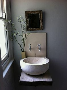Bathroom sink, great for powder room. Bad Inspiration, Bathroom Inspiration, Interior Inspiration, Bathroom Ideas, Simple Bathroom, Bathroom Designs, Bathroom Interior, Modern Bathroom, Serene Bathroom