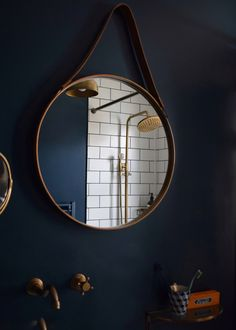 √ 17 Best Bathroom Renovation Using Attractive Bathroom Paint Colors & Schemes Best Paint For Bathroom, Small Bathroom Paint Colors, Brass Mirror, Mirror Tiles, Mirrors, Hague Blue Bathroom, Blue Bathrooms, Boho Bathroom, Downstairs Bathroom