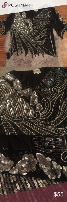 Beaded silk blouse vintage sz Large New Years Beaded silk blouse vintage sz Large  Beautiful detailing! Perfect for NYE🎉 Tops Blouses