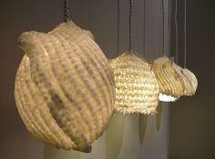 Barbara-Vos-Scarf Lamps - een 2e leven voor oude sjaals (gedoopt in keramiek & gebakken...)