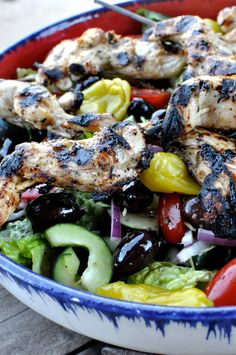 Paleo Greek Salad w/ Greek Marinated Chicken Skewers - Fed & Fit....this can easily be made without the chicken and the Greek Dressing looks wonderful to use on a lot of salads...