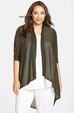 Eileen+Fisher+Tencel®+&+Merino+Cascade+Front+Oval+Cardigan+(Plus+Size)+available+at+#Nordstrom